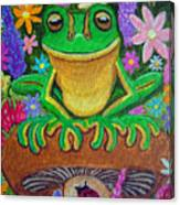 Frog On Mushroom Canvas Print