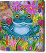 Frogs And Flowers Canvas Print