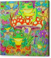 Frogs And Mushrooms Canvas Print