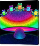 Frogs And Rainbow Mushroom Canvas Print
