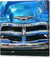 Front End Blue And Chrome Chevy Pick Up Canvas Print