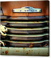 Front End Grille Of 1953 Chevrolet Advantage Design Truck With Dog Skeleton Canvas Print