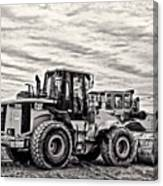Front End Loader Black And White Canvas Print