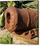 Front End Of An Old Rusty Cannon Lying On The Floor Canvas Print