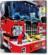 Front Of Fire Truck With Hose Canvas Print