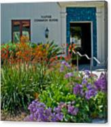 Flowers In Front Of Napier Common Room At Pilgrim Place In Claremont-california Canvas Print
