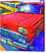 Front View Of Red Retro Car  Canvas Print