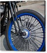 Front Wheel With Blue Rims And Fat Chrome Spokes Of Vintage Styl Canvas Print