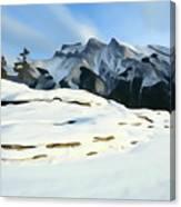 Frozen Mountain Lakeshore Canvas Print