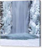 Frozen Multnomah Falls Closeup Canvas Print