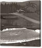 Frozen Pond Camp Ground Panorama Canvas Print