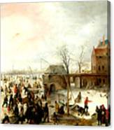 Frozen River Near A Town Canvas Print
