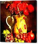 Fruit And Flower Still-life H A Canvas Print