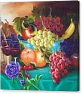 Fruit And Wine On Green Cloth Canvas Print