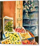 Fruit Shop In San Gimignano Canvas Print