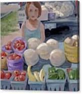 Fruit Stand Girl Canvas Print
