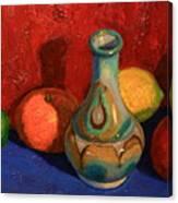 Fruit With Ceramic Vase Canvas Print