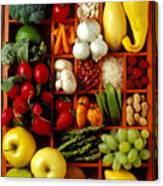 Fruits And Vegetables In Compartments Canvas Print