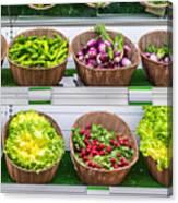 Fruits And Vegetables On A Supermarket Shelf Canvas Print