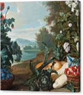 Fruits Flowers And Vegetables In A Landscape Canvas Print