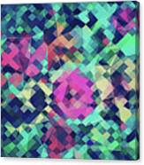 Fruity Rose   Fancy Colorful Abstraction Pattern Design  Green Pink Blue  Canvas Print