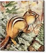 Fuertes, Louis Agassiz 1874-1927 - Burgess Animal Book For Children 1920 Striped Chipmunk Canvas Print