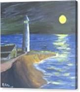 Full Moon Lighthouse Canvas Print