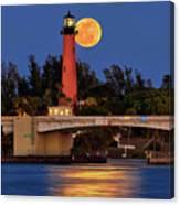 Full Moon Over Jupiter Lighthouse, Florida Canvas Print