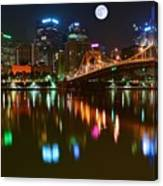 Full Moon Over Pittsburgh Canvas Print
