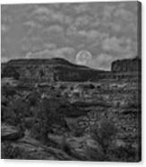 Full Moon Over Red Cliffs Bw Canvas Print