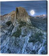 Full Moon Rising Behind Half Dome Canvas Print