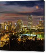 Full Moon Rising Over Downtown Portland Canvas Print