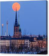Full Moon Rising Over Gamla Stan In Stockholm Canvas Print