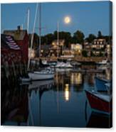 Full Moon Rising Over Motif  Number 1 Rockport Ma Moonrise Canvas Print