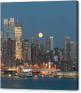 Full Moon Rising Over New York City I Canvas Print