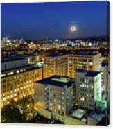 Full Moon Rising Over Portland Downtown Canvas Print