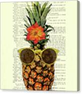 Funny And Cute Pineapple Art Canvas Print