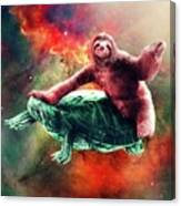 Funny Space Sloth Riding On Turtle Canvas Print
