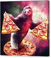 Funny Space Sloth With Pizza Canvas Print