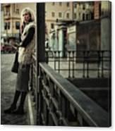 Furry Blondie #woman #portraits Canvas Print