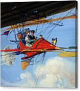 Futuristic Air Travel Vintage Poster Canvas Print