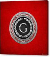 G - Silver Vintage Monogram On Red Leather Canvas Print