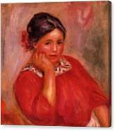 Gabrielle In A Red Blouse 1896 Canvas Print