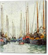 Gaily Coloured Fishing Vessels Canvas Print
