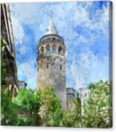Galata Tower In Istanbul Tukey Canvas Print