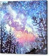 Galaxy Spring Night Watercolor Canvas Print