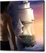 Galeon On The Horizon Canvas Print