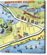 Galveston Texas Cartoon Map Canvas Print