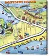 Galveston Texas Cartoon Map Canvas Print