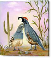Gambel Quails Friends Forever Canvas Print